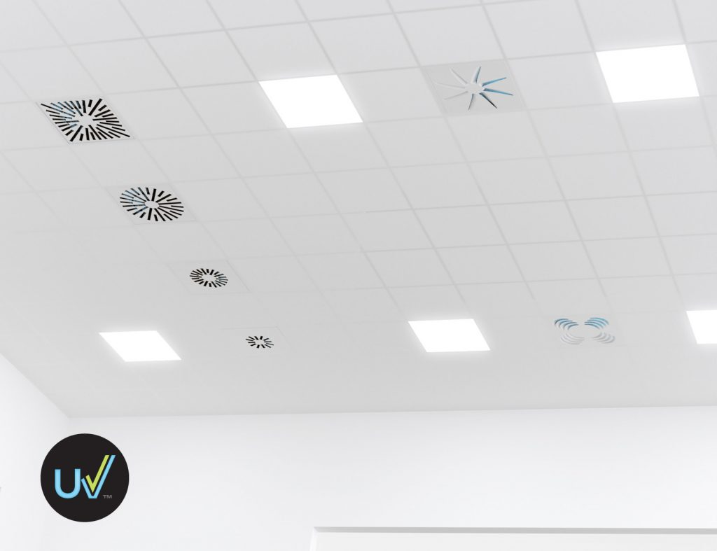 Ceiling with UV Diffusers to Contain the Spread of COVID-19 in Schools and Office Buildings